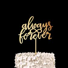 Always Forever Wedding Cake Topper Gold Wood Rustic Bridal Shower Decor Anniversary Party Favors Decorations Supplies