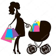 vector illustration of modern pregnant mommy with vintage baby