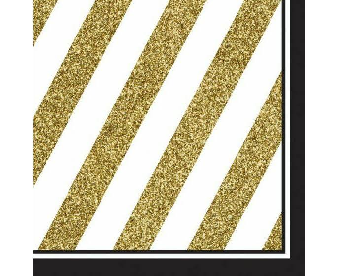 Creative Converting Black and Gold Napkins - 16pk