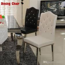 großhandel neue 100 edelstahl leder esszimmerstühle mode wohnzimmer esszimmerstuhl schwarz und weiß braun metall ledermöbel imetyou 170 66