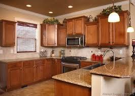 Traditional Medium Wood Golden Kitchen Cabinets 63 Design Ideas