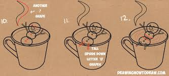 Learn How To Draw A Snowman Swimming In Hot Cup Of Cocoa Simple Steps Drawing