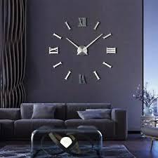 details zu wanduhr moderner uhr groß 3d aufkleber decor geschenk wohnzimmeruhr silber