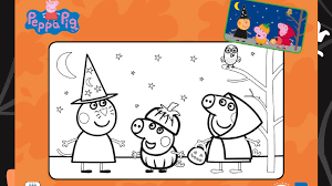 Peppa Pig Halloween Colouring Sheet Pages For Preschoolers