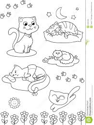 Royalty Free Stock Photo Download Cute Cartoon Cats Coloring Vector Page
