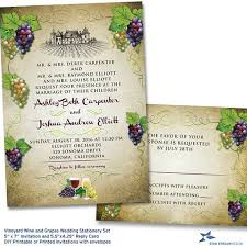 Vineyard Wine And Grapes Rustic Wedding Stationery Set Invitation RSVP Card Printable Evite Or Printed US Only