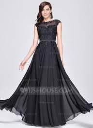 a line princess scoop neck floor length chiffon evening dress with