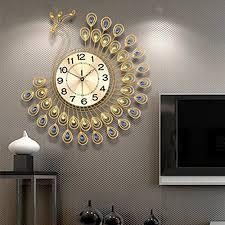NEOTEND 3D Wall Clock Peacock 40pcs Diamonds Decorative Diameter 208