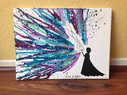 Disneys Frozen Themed Melted Crayon Art You Can Also Do The Crayons Coming Toward A Silhouette Holding An Umbrella