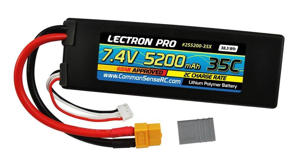 Lectron Pro 7.4V 5200mah 35C Lipo Battery with XT60 Connector