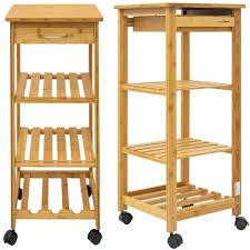 bambus küchenwagen 37x37x85 servierwagen holz rollwagen rollregal küchenregal