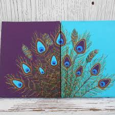 Classic Combination Peacock Feather Wall Art Simple Shop Wallpaper Wanelo Hand Painted