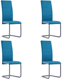 vidaxl 4x freischwinger esszimmerstuhl schwingstuhl stuhl küchenstuhl polsterstuhl stühle essstuhl stuhlset esszimmerstühle blau kunstleder