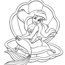 Disney Mermaid Ariel Sitting On A Clamp Coloring Pages