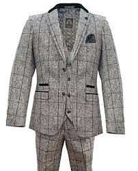 Mens Marc Darcy Vintage Checked 3 Piece Suit