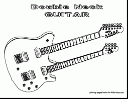 Incredible Guitar Coloring Pages To Print With Page And Electric