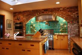 brick kitchen backsplash with faux design styles and colonial