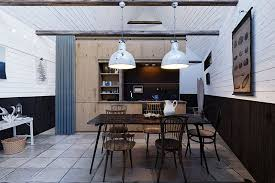 The Efficient Interior Combines Rustic Wood Beams With White Washed Upper Paneling Black Painted Lower And Frames Simple Floors Made Of Tile