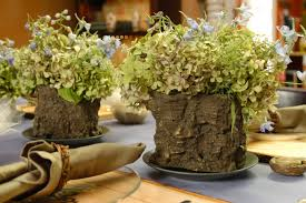 Decorations Rustic Wood Vases With Natural Plants For Table
