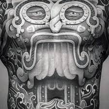 Ancient Culture Crazy Male Full Chest Tattoos