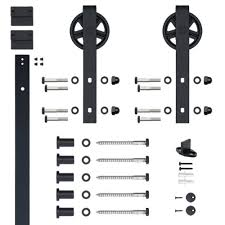 Soft Closed Hook Strap Black Rolling Barn Door Hardware Kit With 5 ... Home Depot Barn Door Track System Sliding Front Hdware Design T Whlmagazine Collections Pacific Entries 36 In X 84 Rustic Unfinished Plank Knotty Fniture High Quality Finished Pocket Kit Doors Hinges Double Everbilt Bypass In X Closets Closet Fleur De Lis 6 Ft Flat Black Knobs The 30 80 Interior