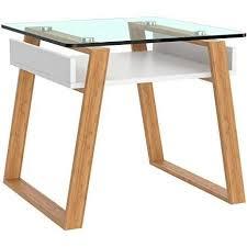bonvivo pablo moderner beistelltisch für wohnzimmer designer beistelltisch mit glas platte und holzgestell beistelltisch eckig mit weiß lackierter