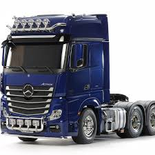 100 Rc Diesel Trucks MercedesBenz Actros 3363 6X4 Gigaspace Pearl Blue Tamiya USA