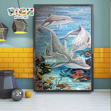 dolphins design mosaic mural for bathroom decorate reiche
