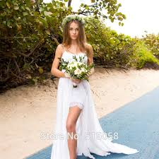Sexy Sweetheart Spaghetti Straps Lace Wedding Dresses Front Short Long Back Boho Bridal Gowns 2016 Rustic