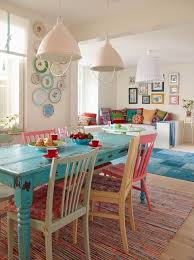 Colorful Dining Room Decorating With Painted Wood Furniture In Vintage Style