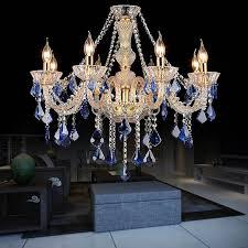 lüster kronleuchter kristall kerzen design blau für wohnzimmer