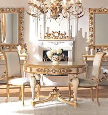 French Classic Dining Room Furniture With Small Round Table And Fireplaces