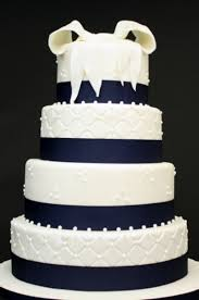 For Your Wedding Cake You Can Select A Traditional White Accented With Navy Trim Or Blue Flowers