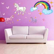 unicorn set wall decal with rainbow room wall decal