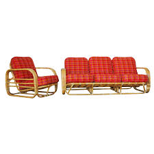 Restored Streamline Art Deco Rattan Living Room Set