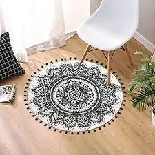 de uphome teppich rund mit schicken bommeln