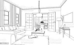 benutzerdefinierte zeichnung wohnzimmer interior design stockfoto und mehr bilder architektur