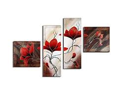 Noah Art Rustic Flower Red Tulip Picture 100 Hand Painted Floral