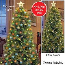 Lighted Christmas Tree Net Lights With Star Clear