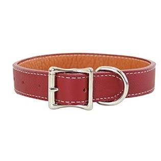 "Tuscan Leather Dog Collar by Auburn Leather - Red - 3/4"" Width x 16"" Length"