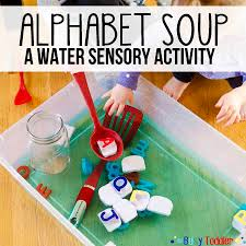 ALPHABET SOUP A No Cost High Fun Toddler Activity Water Sensory