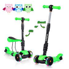 yoleo 3 in 1 kinder roller scooter mit abnehmbarem sitz led große räder höheverstellbare lenker für kleinkinder jungen mädchen ab 2 jahre grün