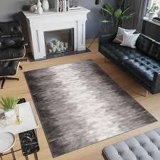 laila teppich kurzflor modern grau schwarz creme meliert verwischt design wohnzimmer schlafzimmer