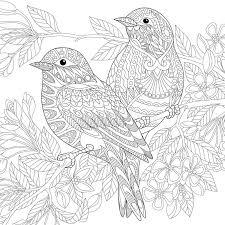 Download Zentangle Stylized Birds Stock Vector Image Of Bloom