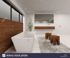 3d rendering des luxus badezimmer mit wanne hocker und