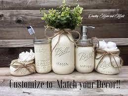 Country Bathroom Decor Mason Jar Set Rustic