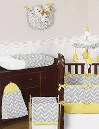zig zag yellow gray chevron print crib bedding set blanket