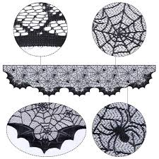 Halloween Fireplace Mantel Scarf by Amazon Com Aytai Lace Spider Bats Mantel Scarf Unique Cobweb