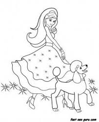 Free Printable Beautiful Barbie Dress Up Games With Puppy Coloring Pages