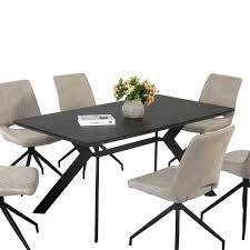 schwarzer esszimmer tisch in 160x90 cm segurian